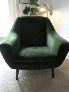 Green Velvet Mid Century Retro Arm Chair 1940's/1950's Scandinavian