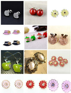 Bonnet / hat / daisy / apple / leaf / flower stud earrings, multiple designs