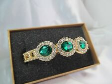 "NWT MONET GOLD with CLEAR & ""EMERALD"" GREEN RHINESTONES STATEMENT BRACELET"