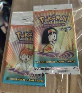 2x EMPTY Gym Heroes Pokemon Booster Pack - Misty and Erika Art, Wrappers Only