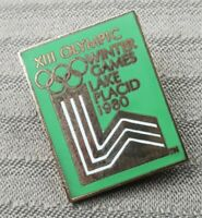 1980 LAKE PLACID OLYMPIC PIN Green US LOGO CLOISONNE XIII WINTER OLYMPIC GAMES
