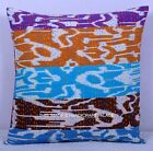 Handmade Ikat Indian Patchwork Kantha Cushion Cover Pillow Case Decor Art 16""