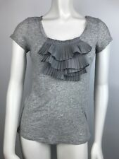 Juicy Couture Womens T-Shirt Slim Fit Ruffle Short Sleeve Gray Size S