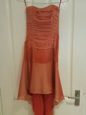 Charas burnt orange satin and chiffon strapless dress