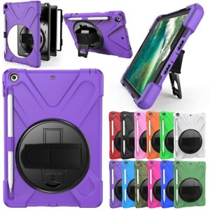 For iPad 6th 5th Gen 9.7 Shockproof Hybrid Stand Rubber Case Cover Pencil Holder