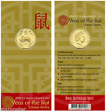 2008 Australia Lunar Series - Year of the Rat, $1 UNC Carded Coin