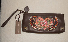 Isabella Fiore Live To Love Leather Cassey Tattoo Embroidered Wristlet