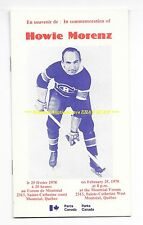 HOWIE MORENZ Commemorative PROGRAM 1978 Ceremony @FORUM Montreal CANADIENS WoW