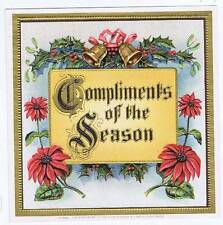 Compliments of the season, original outer cigar box label, holiday