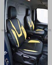 Ford Transit Custom Van Tailored Seat Covers - Black With Yellow Diamond Panels