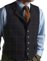 Men's Tweed Wool Waistcoat  Vest Lapel Plaid Suit Vest Tuxedo Vest For Groomsmen
