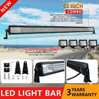 52inch LED Light Bar Combo +4'' CREE Flood Pods Work Driving Bar Offroad SUV 4WD
