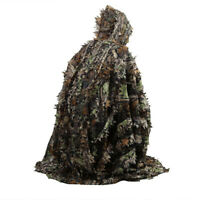 Hunting Hooded Ghillie Poncho Suit 3D Leaf Camouflage Sneaky Ghillie Clothes