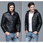 Mens Down Hooded Jacket Duck Down Puffer Coat Ultralight Outwear Packable Parka