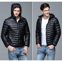 Mens Packable Ultralight Hooded Puffer Duck Down Jacket Coat Warm Outwear Parka