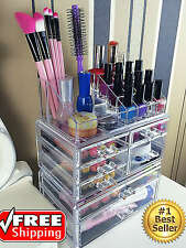 Makeup Organizer Black Acrylic Drawers Cosmetic Box With Brush Lipstick Holder