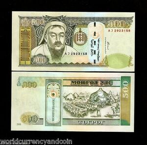 MONGOLIA 500 TUGRIK P66 2003 CHINA GENGHIS KHAN OX UNC MONGOLIAN MONEY BANK NOTE