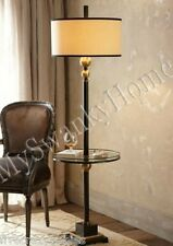 Contemporary Black White End Table FLOOR LAMP Metal Modern NEIMAN MARCUS Bronze