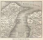 B0981 Stretto di Messina - Carta geografica d'epoca - 1890 Vintage map