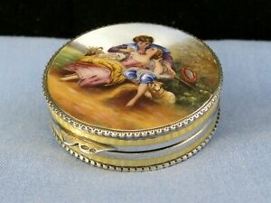 ANTIQUE  STERLING SILVER ART DECO GUILLOCHE ENAMEL BOX COMPACT VANITY POT LOVERS