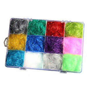 12 Colors ICE DUBBING Box Dub Wing Body Trout Nymph Fly Fishing Tying Materials