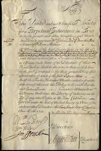 1713 Very Rare early UNITED Benificial Society Life Perpetual Insurance Policy