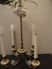 VTG CHAPMAN Solid Brass  Chandelier 4 Candle Sticks Light Ceiling Fixture