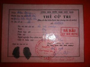 Socialist Republic Of Vietnam Ho Chi Minh City VOTER ID Card Year 1976