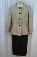 Evan Picone Skirt Suit Sz 18 Champagne Black Multi Park Avenue Business Cocktail