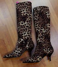 Donald J Pliner Leopard Stretch Tall Kitten Heels Boots Shoes 7 M
