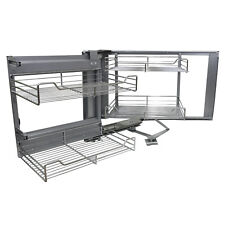 Corner Kitchen Wire Baskets Slide Left Hand Pull Out Metal Storage 900-1000mm