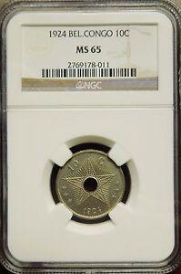 Belgian Congo 1924 10 Centimes NGC MS65