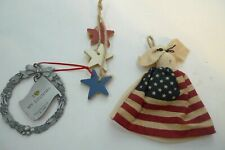 Red White Blue Patriotic Lot 3 Ornaments Pewter Wood Cloth Flag Ornaments July 4