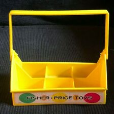 Vintage Fisher Price MILK BOTTLE CARRIER HOLDER Yellow #637 1960s