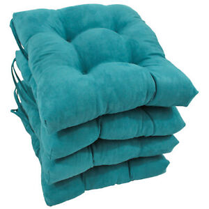 16-inch Solid Micro Suede Square Tufted Chair Cushions (Set of 4) - Indigo