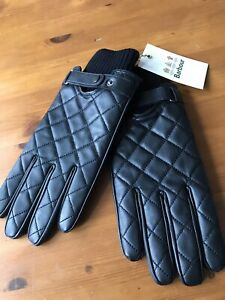 Men's Barbour Quilted Gloves Leather Size Large Black NEW