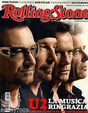 ROLLING STONE ITALIA=N°3 11/2014=U2=PINK FLOYD=CLUB DOGO=BOB DYLAN=DAVID BOWIE