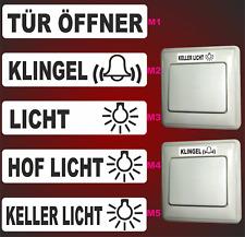 5 Aufkleber Klingel Lichtschalter Türöffner Kellerlicht Schalter Elekto Logo F