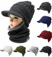 Woman Men 2 in 1 Cable Knit Winter Hat Neck Warmer Mask Brim Beanie Fur Lining