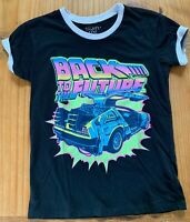 Mighty Fine Women's Size S BACK TO THE FUTURE Neon Graphic T-Shirt! EUC