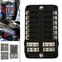 12 Way Blade Fuse Holder & Bus Bar Kit Auto Car Boat Marine Fuse Box 12V-32V