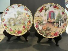 ROYAL ALBERT OLD COUNTRY ROSE TWO COLLCTOR PLATES 25 YEAR, CHRISTMAS MAGIC