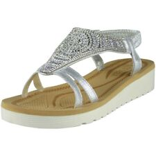 Womens Ladies Diamante Low Wedge Comfy Strap Summer Peeptoe Sandals Shoes Sizes Silver UK 6 / EU 39 / US 8