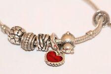 Bracciale PANDORA in argento con 6 Charms tra cui Madre e Figlia Cuore Charms