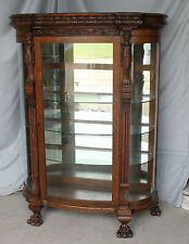 Antique Oak Curio China Cabinet – Carved ladies - Mirrored Back - Glass Shelves