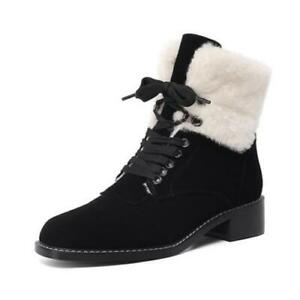 Fashion Women's Low Heel Comfort Outdoor Square Toe Chesea Ankle Boots 34/41 L