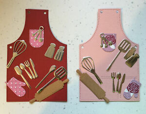 2 Sets Aprons Utensils Cooking Baking Chef Die Cuts Womens ,Birthday Anniv