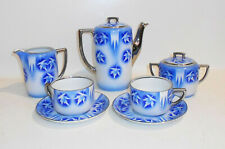 Porzellan Service Teile SPRITZDEKOR blau Kanne Tassen Czechoslovakia 1930 - 1950