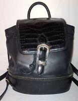 BRIGHTON Moc Croc Black & Brown Leather Adj Straps BACKPACK Handle Carry Bag