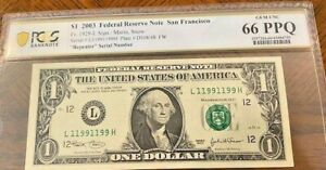 2003 $1 Fancy Serial Number Binary  Repeater-11991199-PCGS 66PPQ